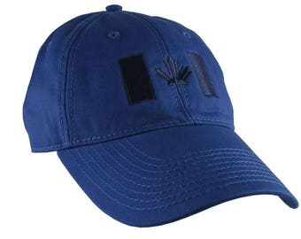Canadian Flag Navy Blue Embroidery Design on a Royal Blue Adjustable Unstructured Baseball Cap Dad Hat for a Tone on Tone Fashion Look