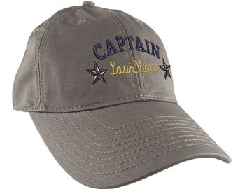 Personalized Captain Stars Your Name Embroidery on Adjustable Light Brown Unstructured Mid Profile Cap with Option to Personalize the Back