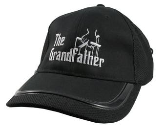 The Grandfather Godfather Style Parody White Embroidery on an Adjustable Fashion Structured Black Baseball Cap Contrasting Edge Design Visor