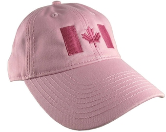 Canadian Flag Hot Pink Embroidery Design on a Pink Adjustable Unstructured Baseball Cap Dad Hat for a Tone on Tone Fashion Look