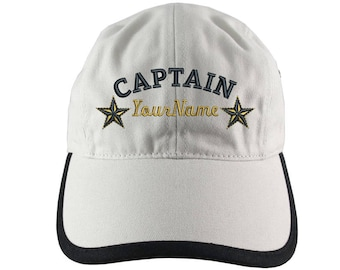 Personalized Nautical Captain Stars Embroidery on Polo Style 5 Panel Adjustable Ivory and Black Unstructured Cap for the Boating Enthusiast
