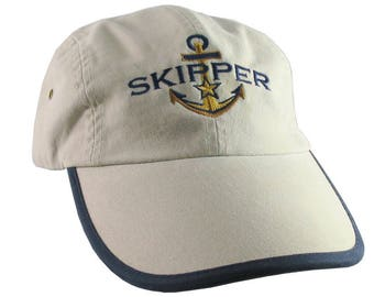 Nautical Star Anchor Skipper Embroidery Polo Style 5 Panel Adjustable Stone Beige and Navy Blue Unstructured Cap for the Boating Enthusiast