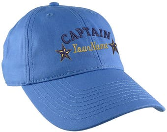 Personalized Captain Stars Your Name Embroidery on Adjustable Sky Blue Unstructured Mid Profile Cap with Option to Personalize the Back
