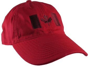Canadian Flag Burgundy Red Embroidery Design on a Red Adjustable Unstructured Baseball Cap Dad Hat for a Tone on Tone Fashion Look