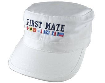 Nautical Flags Spelling First Mate Embroidery on an Adjustable White Unstructured Military Cadet Cap with Option to Personalize Back