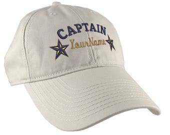 Personalized Captain Stars Your Name Embroidery on Adjustable Stone Beige Unstructured Mid Profile Cap with Option to Personalize the Back