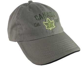Canada Established 1867 Retro Style Maple Leaf Green Embroidery on an Adjustable Khaki Green and Black Unstructured Baseball Cap