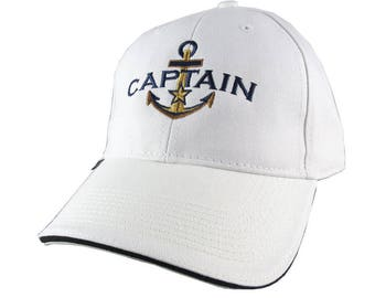 Personalized Captain Star Anchor Embroidery on an Adjustable White Structured Fashion Baseball Cap with Options to Personalize Side Back
