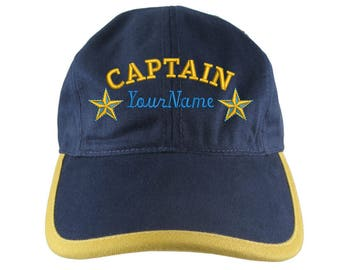 Personalized Nautical Captain Stars Embroidery on a Polo Style 5 Panel Adjustable Navy and Mango Unstructured Cap for the Boating Enthusiast