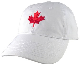 Canadian Red Maple Leaf Canada Embroidery on an Adjustable White  Unstructured Classic Baseball Cap with Option to Personalize the Back 71c93446b579