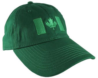 Canadian Flag Irish Green Embroidery Design on a Irish Green Adjustable Unstructured Baseball Cap Dad Hat for a Tone on Tone Fashion Look