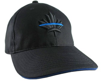 A Canadian Thin Blue Line Maple Leaf Symbolic Black Royal Blue 3D Puff Embroidery Adjustable Black Structured Baseball Cap + Personalization
