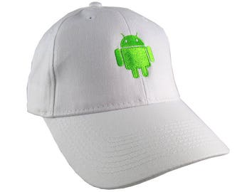 Android Technology Robot Icon Humorous Geek Neon Green Embroidery Design Adjustable White Structured Baseball Cap with Option to Personalize