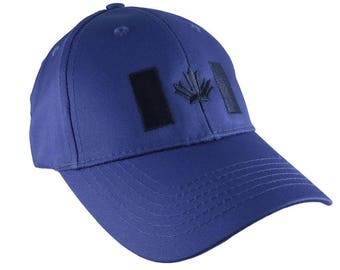 Canadian Flag Navy Blue Embroidery Design on a Royal Blue Adjustable Structured Baseball Cap for Kids Age 6 to 14 Tone on Tone Fashion Look