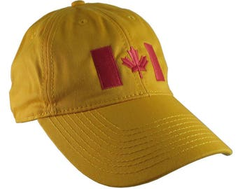 Canadian Flag Red Embroidery Design on a Mustard Yellow Adjustable Unstructured Baseball Cap Dad Hat for a Tone on Tone Fashion Look