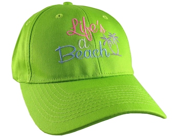 Life's a Beach Multicolored Embroidery on an Adjustable Structured Lime Green Casual Baseball Cap