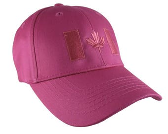 Canadian Flag Hot Pink Embroidery Design on a Hot Pink Adjustable Structured Baseball Cap for Kids Age 6 to 14 Tone on Tone Fashion Look