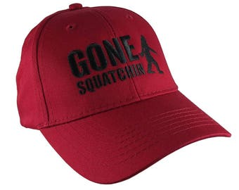 Gone Squatchin Black Sasquatch Bigfoot Humorous Embroidery Design on a Red Adjustable Structured Baseball Cap for Kids Age 6 to 14