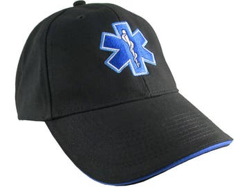Paramedic EMT EMS Star of Life Embroidery on Adjustable Black Blue Line Structured Baseball Cap with Options to Personalize on Two Locations