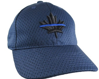 A Canadian Thin Blue Line Maple Leaf Symbolic Black Royal Blue 3D Puff Embroidery Adjustable Navy Blue Baseball Cap + Back Personalization