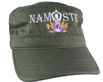 Yoga Pose Om Symbol Lotus Flower Namaste Golden Purple Pink Embroidery on an Adjustable Military Green Unstructured Cadet Hat Style Cap