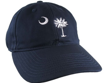 South Carolina State Flag Embroidery on an Adjustable Navy Blue Unstructured Premium Cotton Twill Classic Baseball Cap