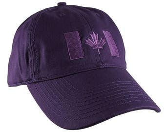 Canadian Flag Purple Embroidery Design on a Purple Adjustable Unstructured Baseball Cap Dad Hat for a Tone on Tone Fashion Look