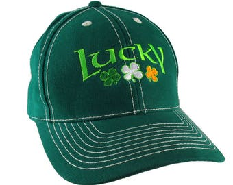 Irish Green Lucky St. Patrick's Day Shamrocks Embroidery on an Adjustable Green Structured Baseball Cap with Option to Personalize the Back