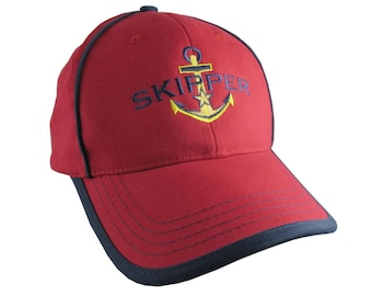 Nautical Star Anchor Skipper Embroidery on an Adjustable Red and Navy Blue Structured Baseball Cap with Options to Personalize This Hat