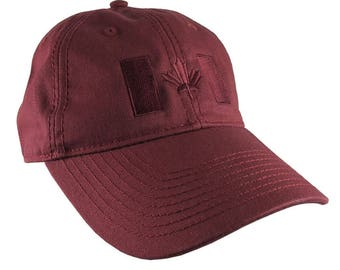 Canadian Flag Burgundy Red Embroidery Design on a Burgundy Red Adjustable Unstructured Baseball Cap Dad Hat for a Tone on Tone Fashion Look