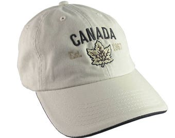 Canada Established 1867 Retro Style Maple Leaf Black and Golden Embroidery on an Adjustable Stone Beige and Black Unstructured Baseball Cap