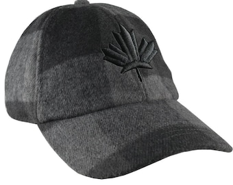 3D Puff Embroidery Black Maple Leaf on a Charcoal Black Buffalo Check Plaid Unstructured Fashion Baseball Cap Low Profile Dad Hat Style