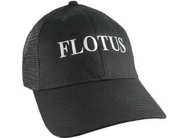 FLOTUS Cap The First Lady of The USA Melania Trump 45 Style Embroidery on an Adjustable Structured Black Trucker Cap Fashion Baseball Cap