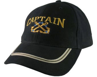 Nautical Crossed Star Anchors Captain Embroidery on an Adjustable Black Structured Fashion Baseball Cap with Options to Personalize This Hat