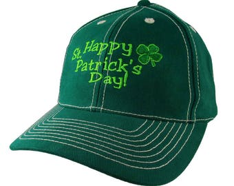 Irish Green Happy St. Patrick's Day Shamrock Embroidery on an Adjustable Green Structured Baseball Cap with Option to Personalize the Back