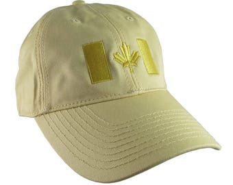 Canadian Flag Yellow Embroidery Design on a Pastel Yellow Adjustable Unstructured Baseball Cap Dad Hat for a Tone on Tone Fashion Look