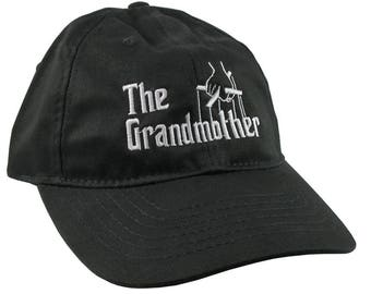 The Grandmother Godfather Style Parody White Embroidery on Adjustable Unstructured Black Casual Baseball Cap