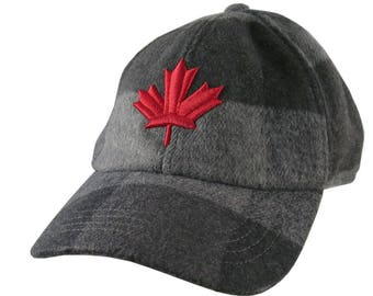 3D Puff Embroidery Red Maple Leaf on a Charcoal Black Buffalo Check Plaid Unstructured Fashion Baseball Cap Low Profile Dad Hat Style