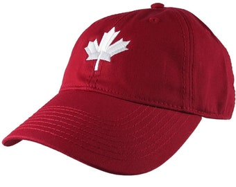 Canadian White Maple Leaf Canada Embroidery on an Adjustable Cranberry Red Unstructured Classic Baseball Cap with Option to Personalize Back