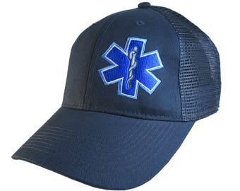 Paramedic EMT EMS Medical Star of Life Embroidery on an Adjustable Navy Blue Structured Trucker Style Classic Cap
