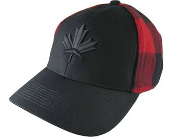 Black Canadian Maple Leaf 3D Puff Embroidery on an All Season Adjustable Black and Buffalo Check Red Plaid Full Fit Classic Baseball Cap