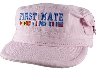 Nautical Flags Spelling First Mate Embroidery on an Adjustable Pink Unstructured Military Cadet Pocket Cap with Option to Personalize Back