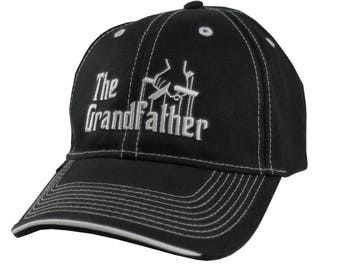 The Grandfather Godfather Style Parody White Embroidery on an Adjustable Fashion Structured Black Baseball Cap and Contrasting White Details