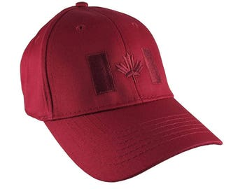 Canadian Flag Red Embroidery Design on a Red Adjustable Structured Baseball Cap for Kids Age 6 to 14 Tone on Tone Fashion Look