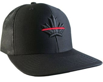 A Canadian Thin Red Line Firefighters Symbolic Maple Leaf 3D Embroidery on Adjustable Fashion Black Structured Adjustable Trucker Style Cap