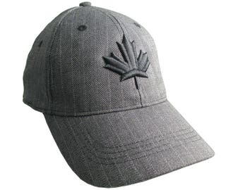 Canadian Black Maple Leaf 3D Puff Embroidery Canada Flag on Adjustable Charcoal Herringbone Pinstripe Structured Fashion Winter Baseball Cap