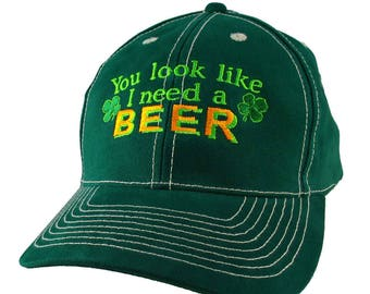 Irish Green Ireland Flag Colors Beer Shamrocks Embroidery on an Adjustable Green Structured Baseball Cap with Option to Personalize the Back