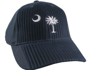 South Carolina State Flag Embroidery on an Adjustable Navy Blue Structured Premium Cotton Twill Fashion Baseball Cap