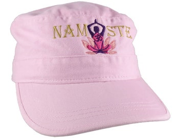 Yoga Pose Om Symbol Lotus Flower Namaste Golden Purple Pink Embroidery on an Adjustable Military Pink Unstructured Cadet Hat Style Cap