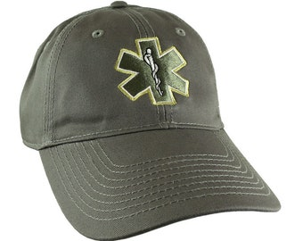 Paramedic EMT EMS Star of Life Embroidery on Adjustable Military Green Unstructured Baseball Cap + Options to Personalize on Two Locations
